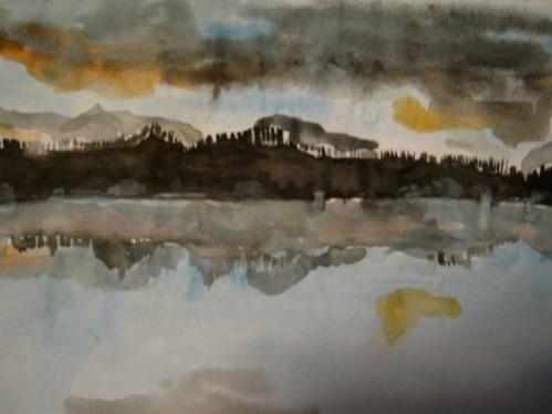 """Autre aquarelle:""""Turner Lake"""" dans le Tweedsmuir parc, où j'ai fait mon jeûne en septembre"""