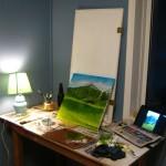 la chambre se transforme en atelier de peinture