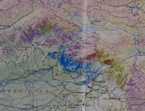 donnees satellites de l'emplacement des forets dans la region de Djalal-Abad. Marron:noyers; Rouge:epiceas; Vert clair:feuillus; Bleu:pistachiers; Vert fonce:genevriers; Violet:arbustres